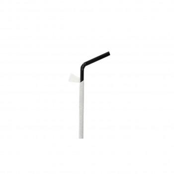 Paille noire sous sachet flexible